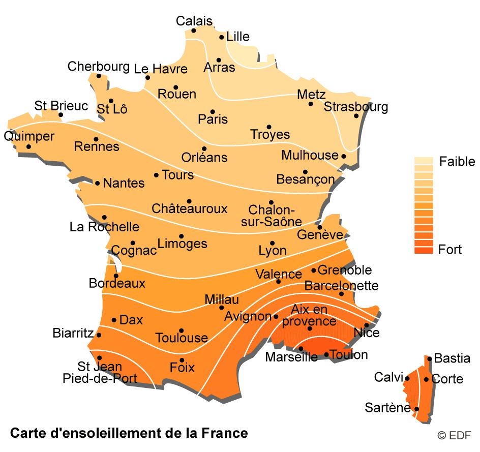 carte d'ensoleillement de la France